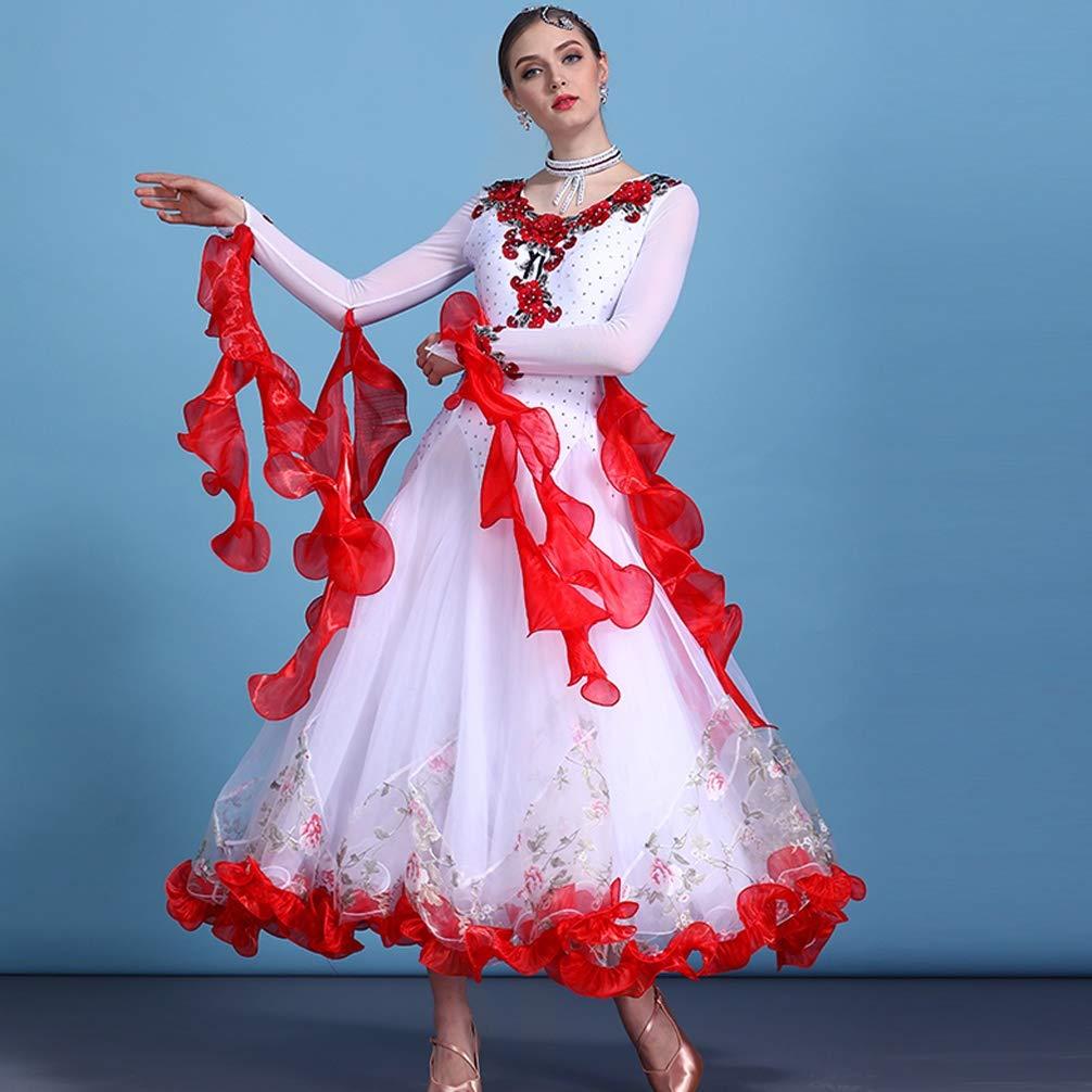 Nationale Ballsaal Kleider für Frauen Frauen Frauen Lange Ärmel Wettbewerb Tanzkostüme Tango Walzer Moderner Tanz Performance Rock Große Schaukel B07JLYMNSC Bekleidung Kaufen af4fae