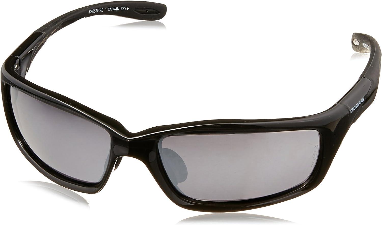 Crossfire 263 Infinity Premium Safety Glasses Silver Mirror Lens Shiny Black Frame