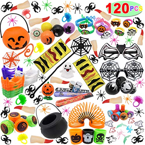 Halloween Goody Bags For Adults (120 PCs Halloween Assortment Party Favors Toys for Halloween Trick or Treat Goody Bags Prizes, Classroom Reward, Miniature Novelty Goodie Bag Fillers, Treasure Chest)