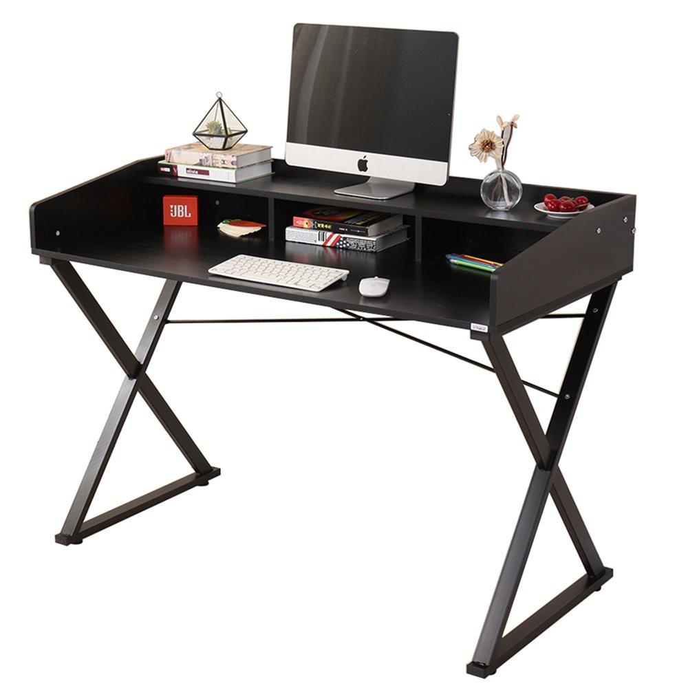 Dland Home Computer Desk Table D11-120B, Composite Wood Board & Metal Frame, Black, 47'' Medium Size, 1 Pack