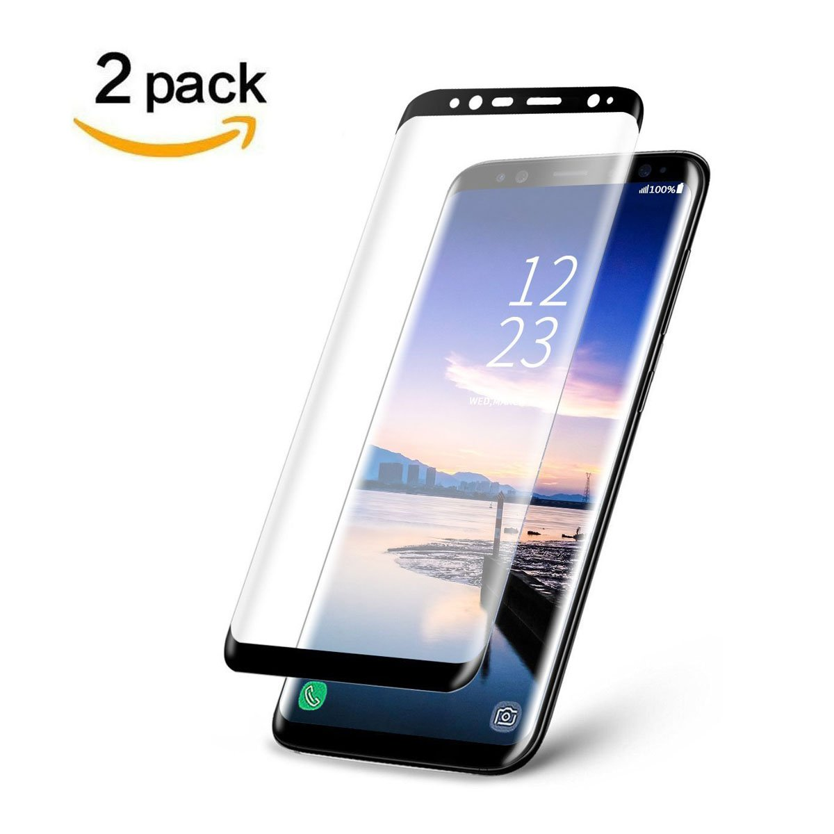LEDitBe Galaxy S9 Screen Protector, Full Screen Tempered Glass Screen Protector Film, Edge to Edge Protection Screen Cover Saver Guard for 3D 9H Hardness Samsung Galaxy S9 Black by LEDitBe (Image #1)