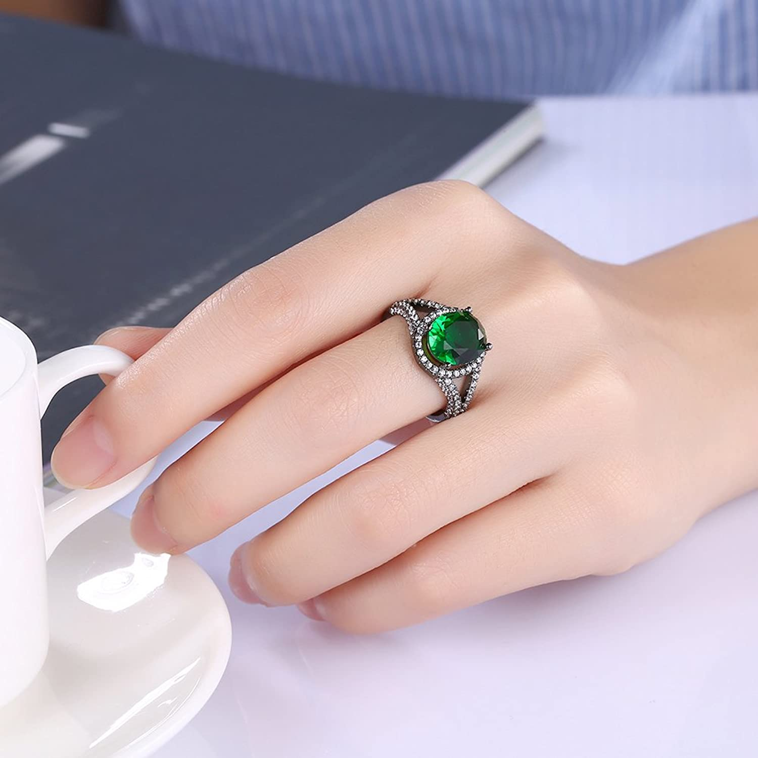 Amazon.com: Women Black Gun Oval Green?Crystal Zircon Stackable ...