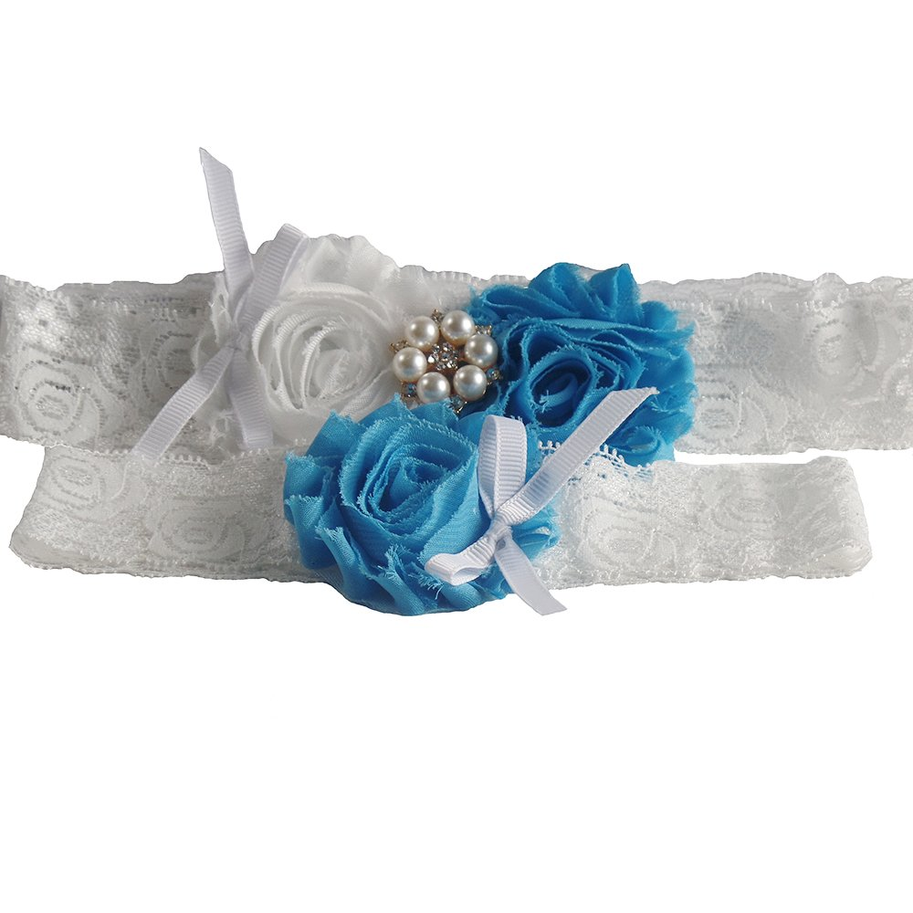 2 Pcs White Lace Wedding Garter Set with Sky Blue Rosettes and Pearl Decoration Gifts Are Blue