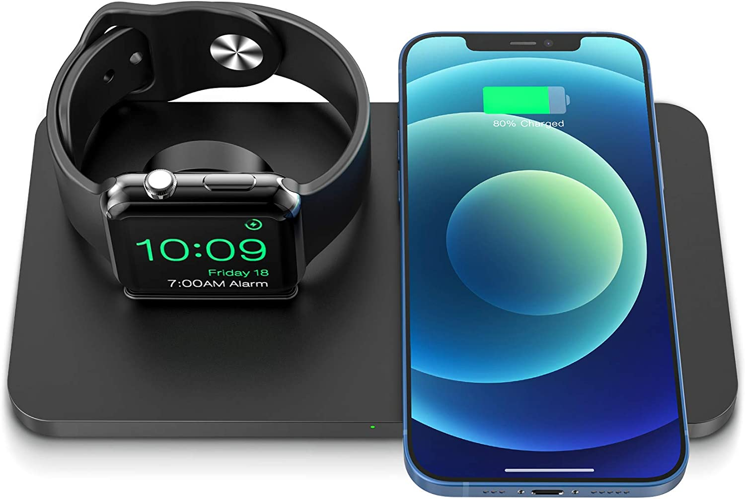 Wireless Charger, iSeneo 2 in 1 Dual Wireless Charging Pad with iWatch Stand for iWatch 6/5/4/3/2, 7.5W Wireless Charger for iPhone 12/11/11 Pro Max/XR/XS Max/XS/X/8, Airpods(No iWatch Charging Cable)