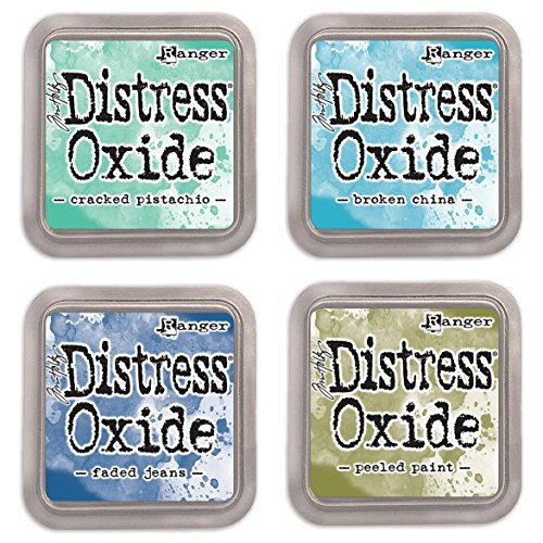 Ranger Tim Holtz Distress Oxide Ink Pads Bundle of 4 Colors - Cracked Pistachio, Broken China, Faded Jeans and Peeled (Faded Chino)