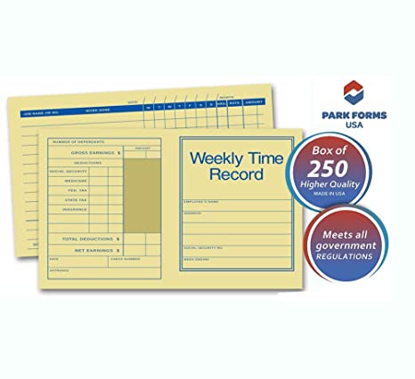 amazon com park forms preprinted pocket size weekly time records