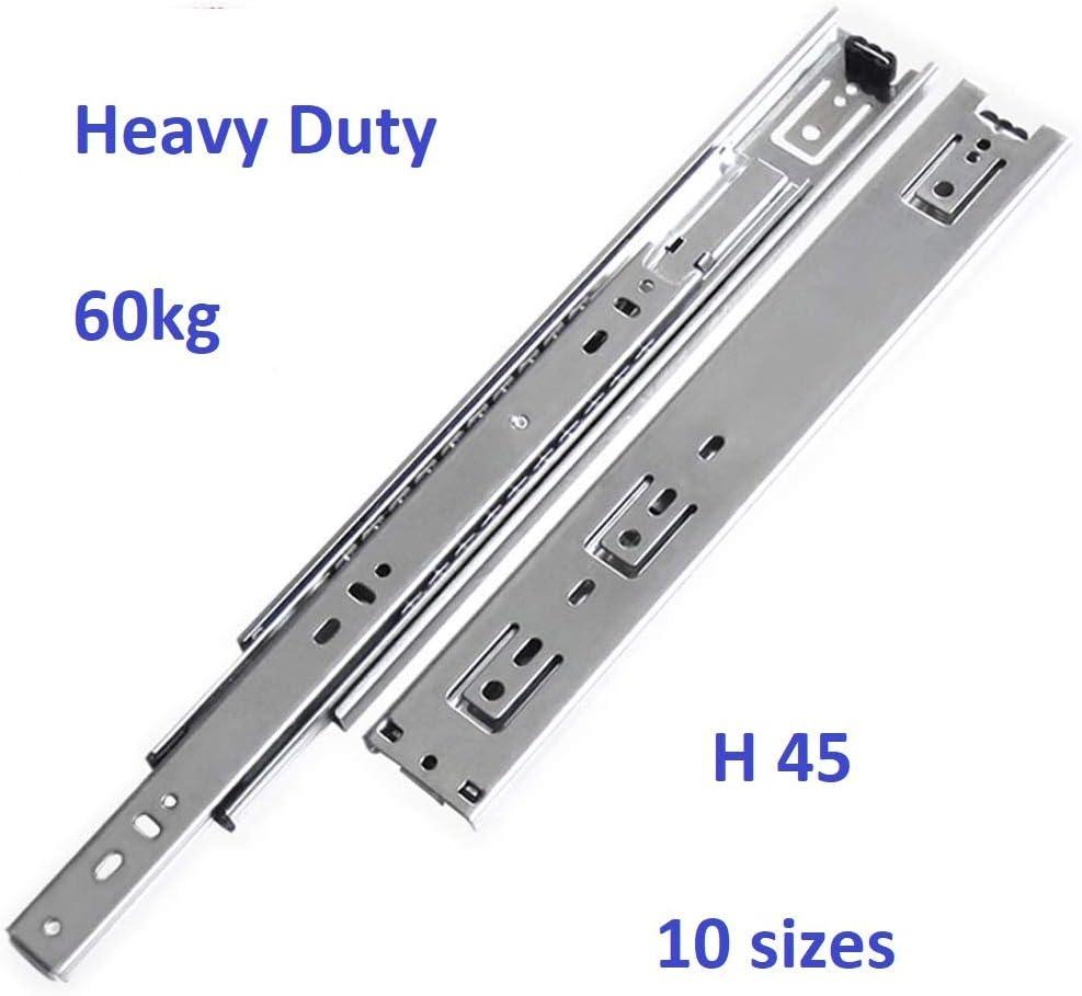 Heavy Duty Paire de glissi/ères de tiroir /à roulement /à billes /à double extension compl/ète de 60 kg 16 paire 400 mm