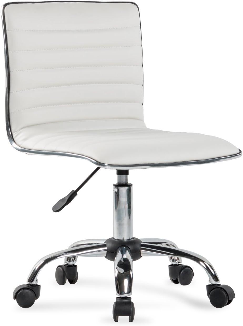 BELLEZE Ergonomic Low Back Armless White Ribbed Swivel Task Office Chair