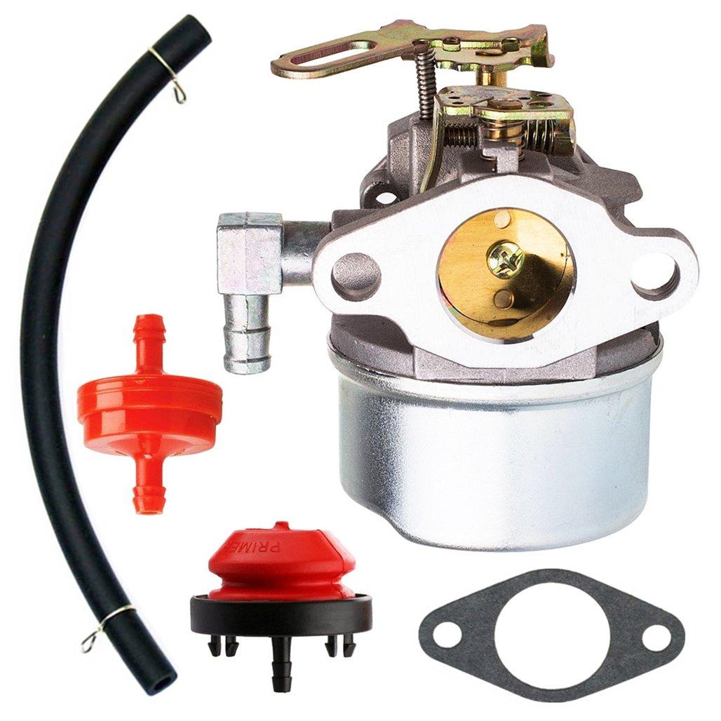 QAZAKY Carburetor with Gasket Fuel Filte Line for Tecumseh 632107 632536 640084 640105 640299 632107A 640084A 640084B 640299A 640299B 4HP 5HP HSK40 HSK50 HS50 HSSK40 HSSK50 HSSK55 LH195SA LH195SP