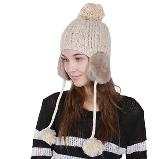 Highpot Women s Winter Warm Crochet Cap Wool Knit Ski Beanie Hat with Ear  Flaps (Beige 555dcedaa1