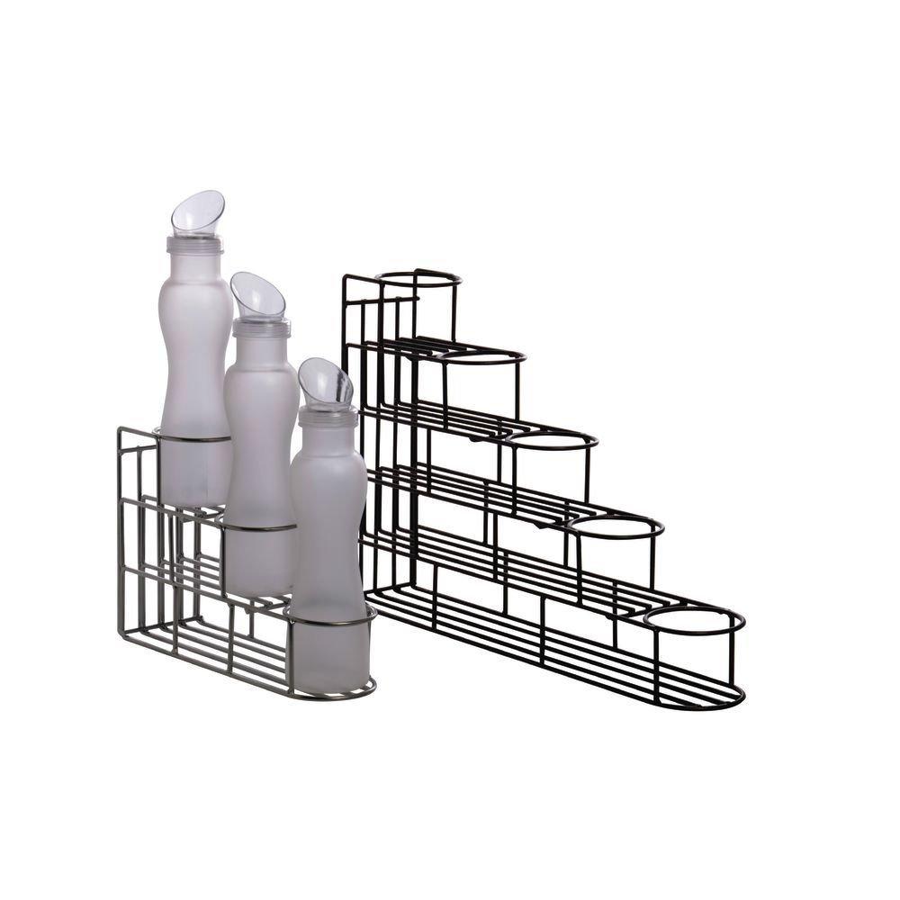 Wire 3-Step Bottle Holder 4''W x 13 1/2''D x 9''H Espresso Metal