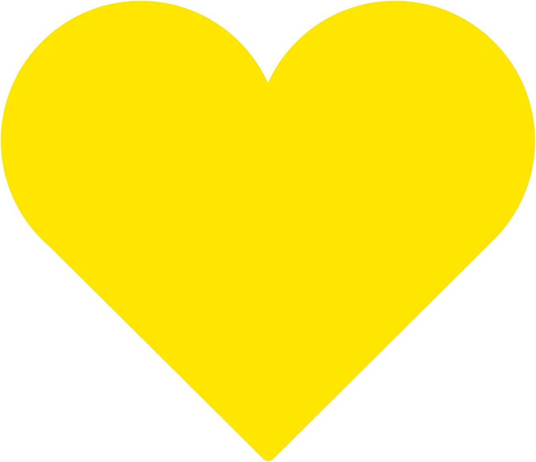 4 prints 16 x 18 mm yellow heart