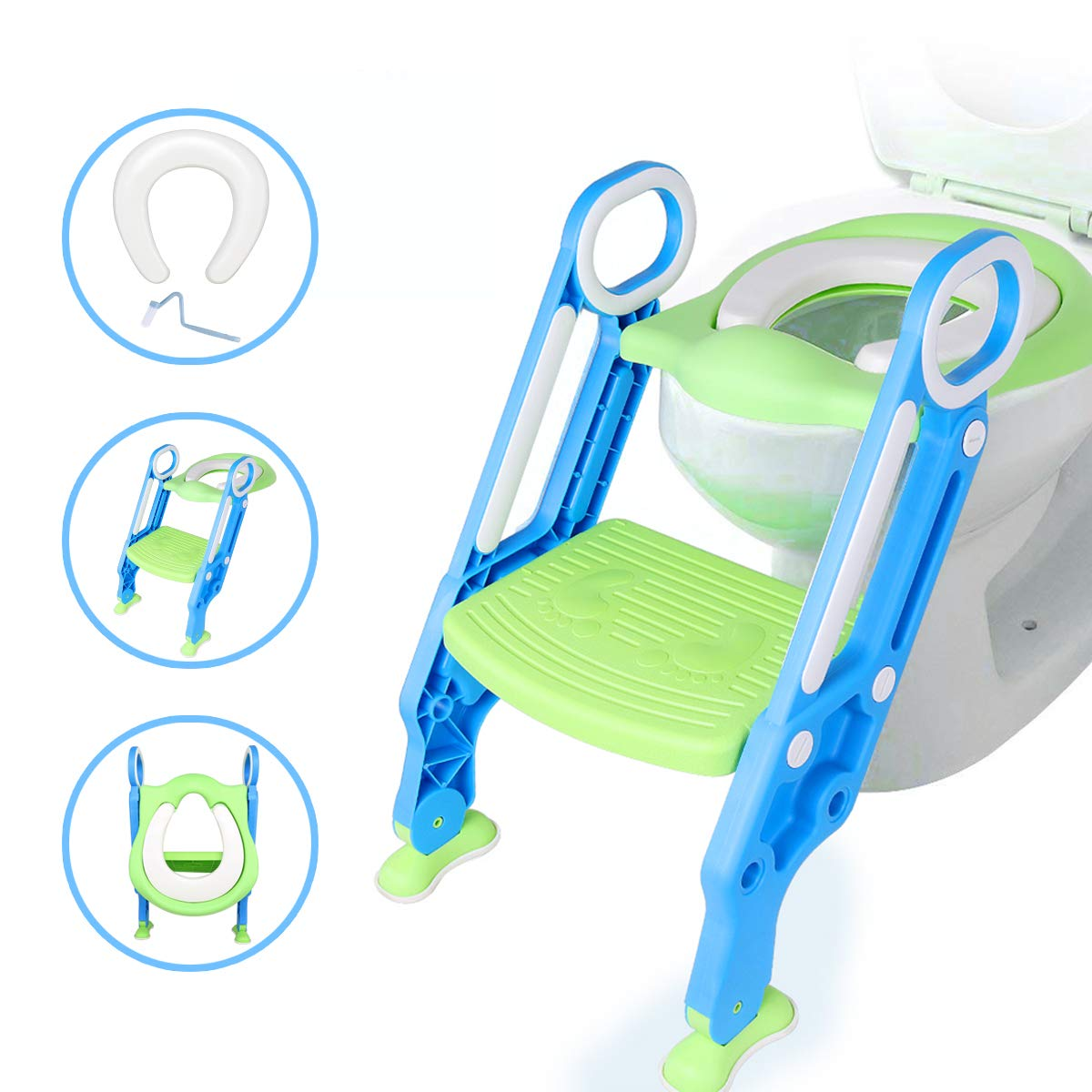 Potty Ladder, Potty Training Seat with Step Stool Ladder, Toddler Toilet Trainer, Adjustable Foot Step Splash Guard Toilet Ladder for Kids Boys and Girls Qotone