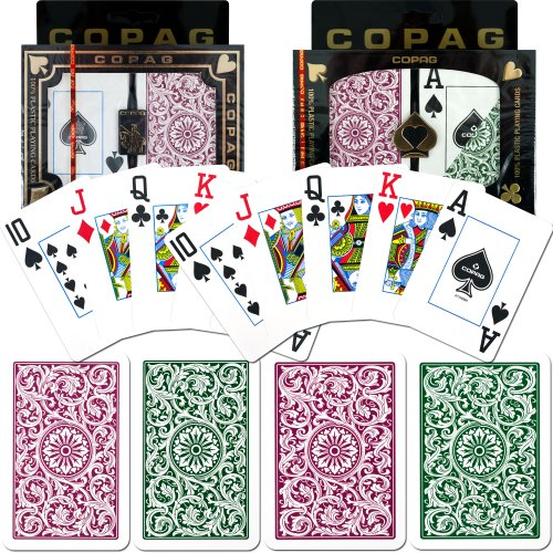 Green Copag (Copag Poker and Bridge Jumbo Index Set of 2 Cards (Green/Burgundy))