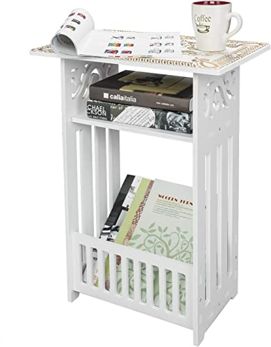 Goujxcy Bedside End Table, Wood Plastic Board 3-Storey Locker Bedside Cabinet Tea Table Coffee Table,White