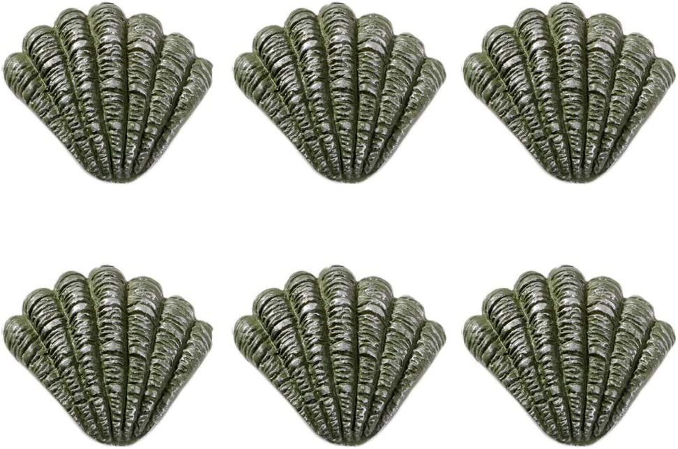 Kyien Pack of 6 Nautical Ocean Sea Life Cabinet Knobs Decorative Pull Handles for Drawer Cupboard Dresser Furniture (Seashell)