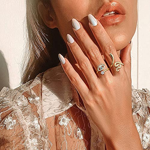 Buleens Butterfly Crystal Knuckle Rings Flower Stackable Ring Set Evil Eye Anillos Smiley Face Chunky Vintage 18K Gold Plated Snake Aesthetic Heart Clear Fun Moon Star Enamel Dainty Daisy Cute 90s Fashion