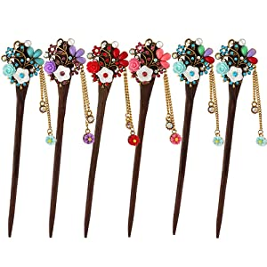 MERYSAN Vintage Hair Stick Stylish Hairpin Hair Styling Hair Making Accessory for Women Girls (6Pcs, Assorted Colors)