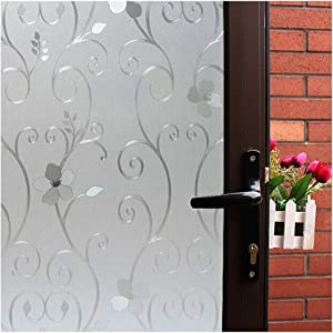 Mikomer 3D Flower Privacy Window Film,Frosted Decorative Glass Door Film,No Adhesive Stained Glass Window Decor,Static Cling Heat Control Anti UV for Home and Office,17.5 inches by 78.7 inches