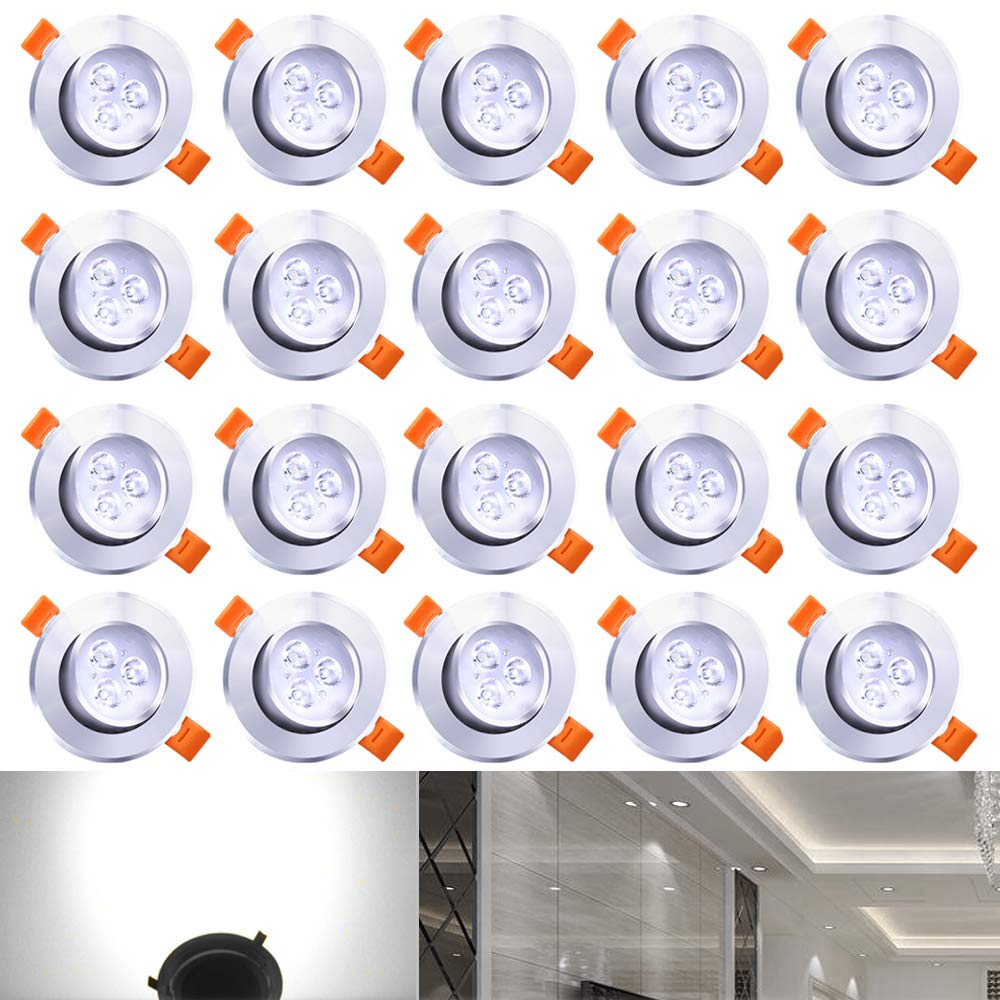 HENGDA® LED Ceiling Recessed Downlight Spotlight Light Bulb 230 V Living Room Bathroom Kitchen Modern 20X 3W Kaltweiß [Energy Class A++] B-20-HG3180a