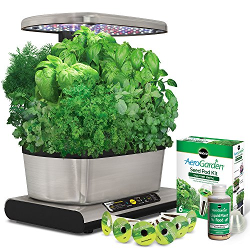 Miracle-Gro-AeroGarden-Harvest-Elite-with-Gourmet-Herb-Seed-Pod-Kit-Stainless-Steel