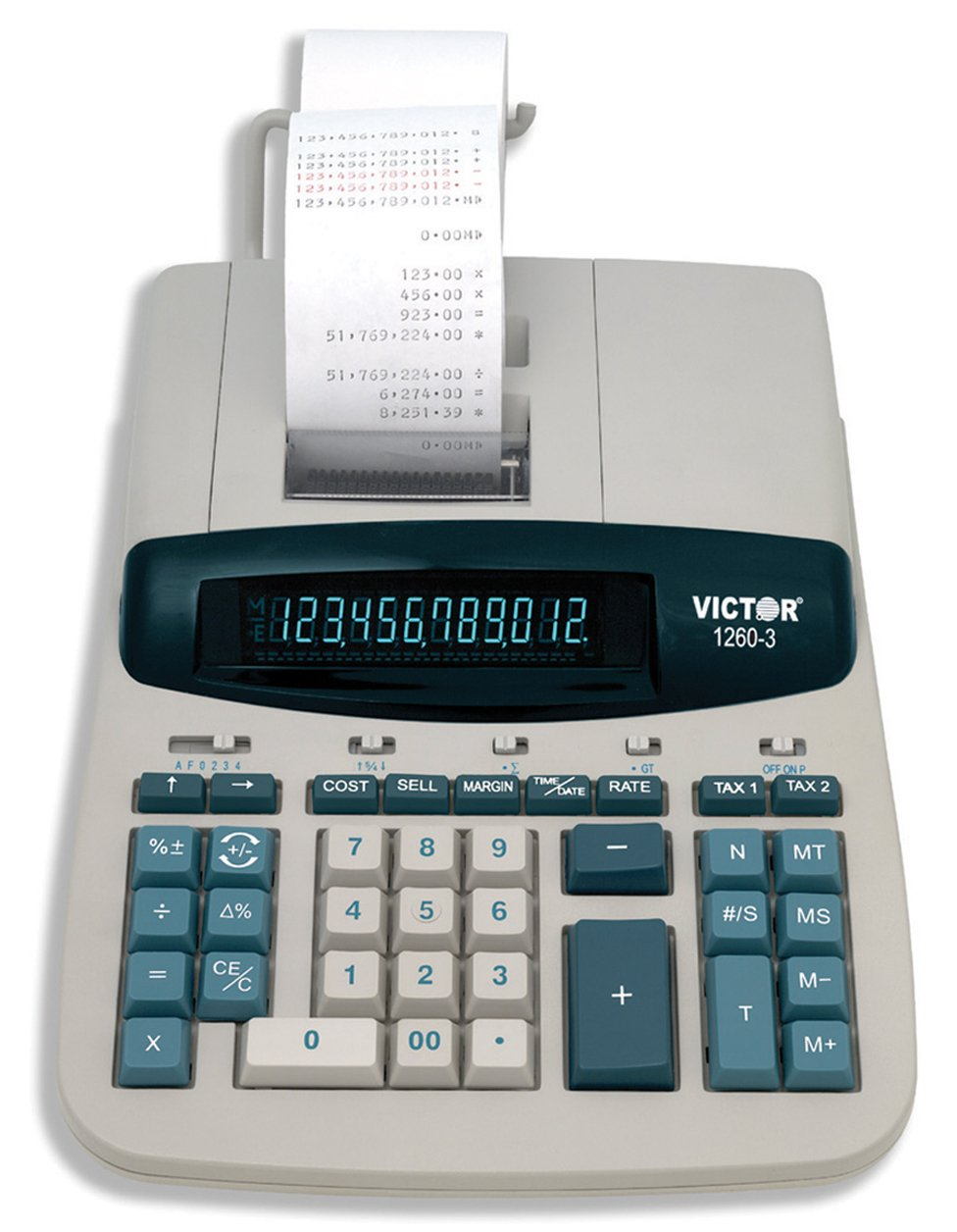 Victor 1260-3 12 Digit Heavy Duty Commercial Printing Calculator by Victor