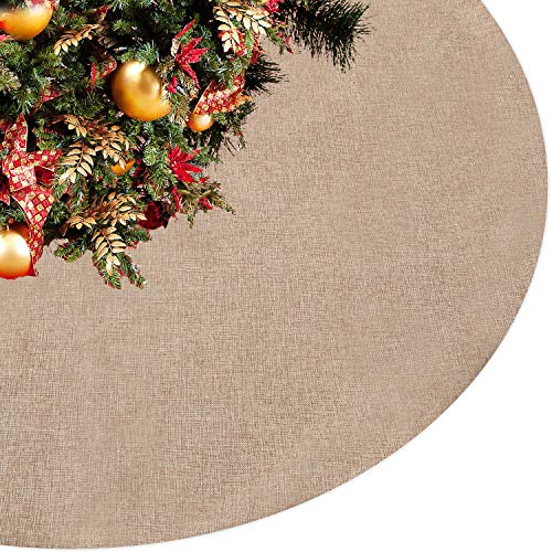 Eilaysyum Christmas Tree Skirt - 48 inches Large Rustic Xmas Burlap Plain Tree Skirts for Holiday Party Christmas Decorations Indoor Outdoor (Jute)