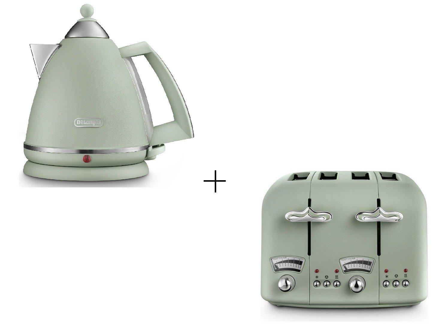 De'Longhi Argento Flora Kettle - Green & De'Longhi Argento Flora Toaster - Green De'Longhi