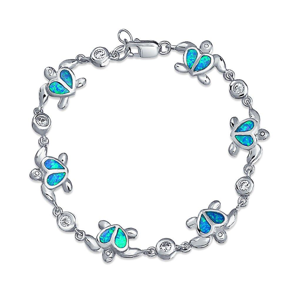 Nautical Heart Turtle Beach Ocean Blue Inlay Created Opal Charm Link Bracelet For Women 925 Sterling Silver