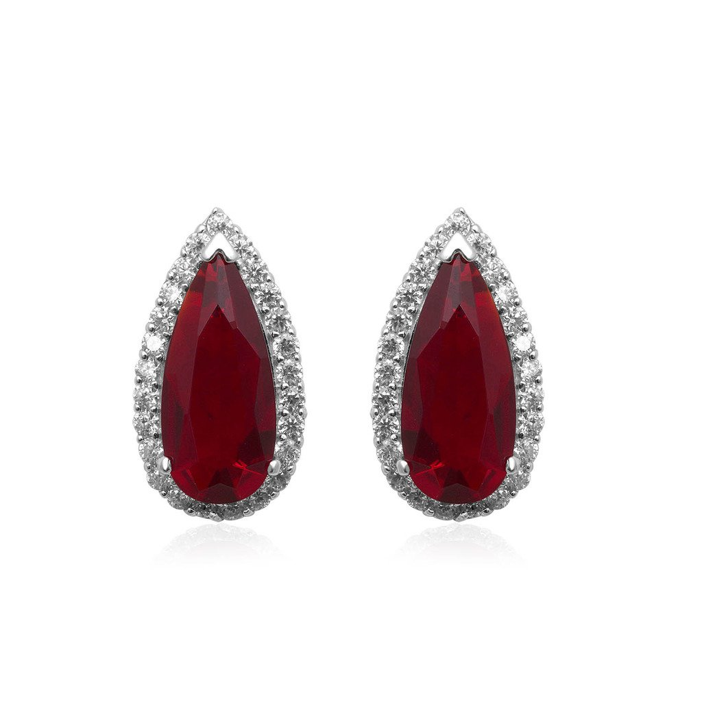Jewelili Sterling Silver Red Glass And Clear Cubic Zirconia Earrings