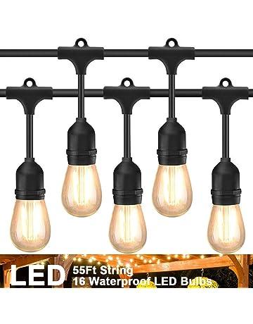 Luces LED de exterior para cadena de 55 pies con 16 enchufes colgantes Cafe Vintage bistró