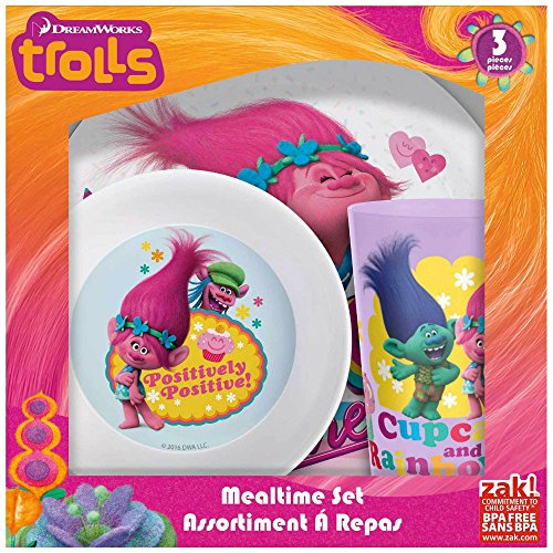TROLLS PLATE, BOWL & CUP SET- 3 pcs. from Unbranded*