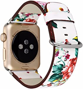 Dahase British Rural Style Floral Ink PU Painting Flower Leather Wristband Replacement Watch Band Strap For Apple Watch iWatch Series 5 4 3 2 And 1st All Versions 44mm 42mm White Red