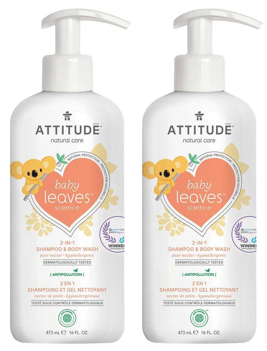 ATTITUDE Baby Leaves 2-in-1 Natural Shampoo and Body Wash Pear Nectar (Pack of 2) With Blueberry Leaf Extract, Moringa Oleifera, Guar and Sweet Fruit, 16 fl. oz. each by Attitude