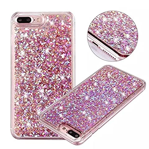 iPhone 7 Plus Glitter Case, NOKEA hard Rubber Flowing Liquid Floating Luxury Bling Glitter Sparkle Flexible Protective Shell Bumper Case Cover for iPhone 7 Plus 5.5inch (Pink Camo Otterbox Iphone 4s Case)