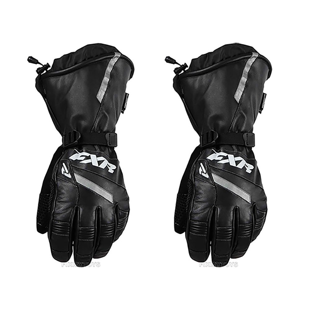 FXR Mens Racing Snowmobile Insulated Waterproof Leather Gauntlet Glove - Black - Small