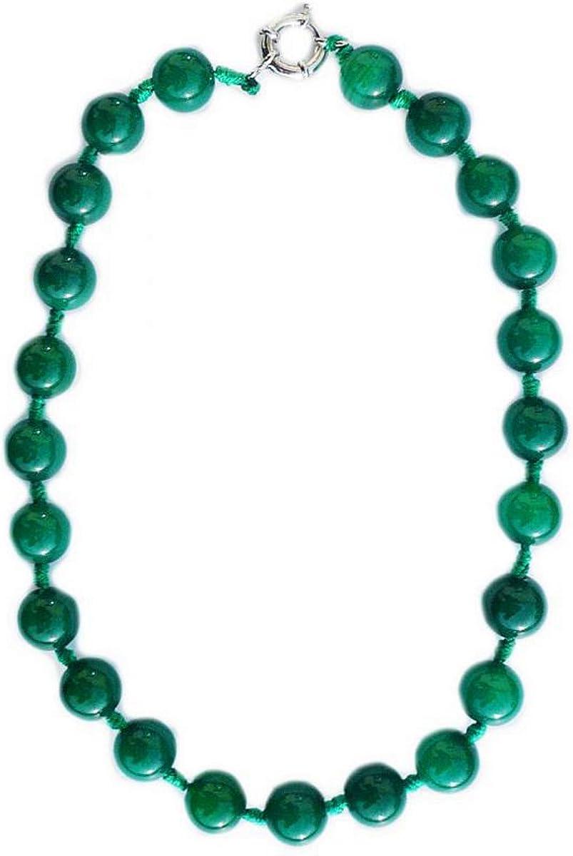 Collar de 45 cm con jade verde oscuro (jadeíta) en perlas 10 mm de diámetro