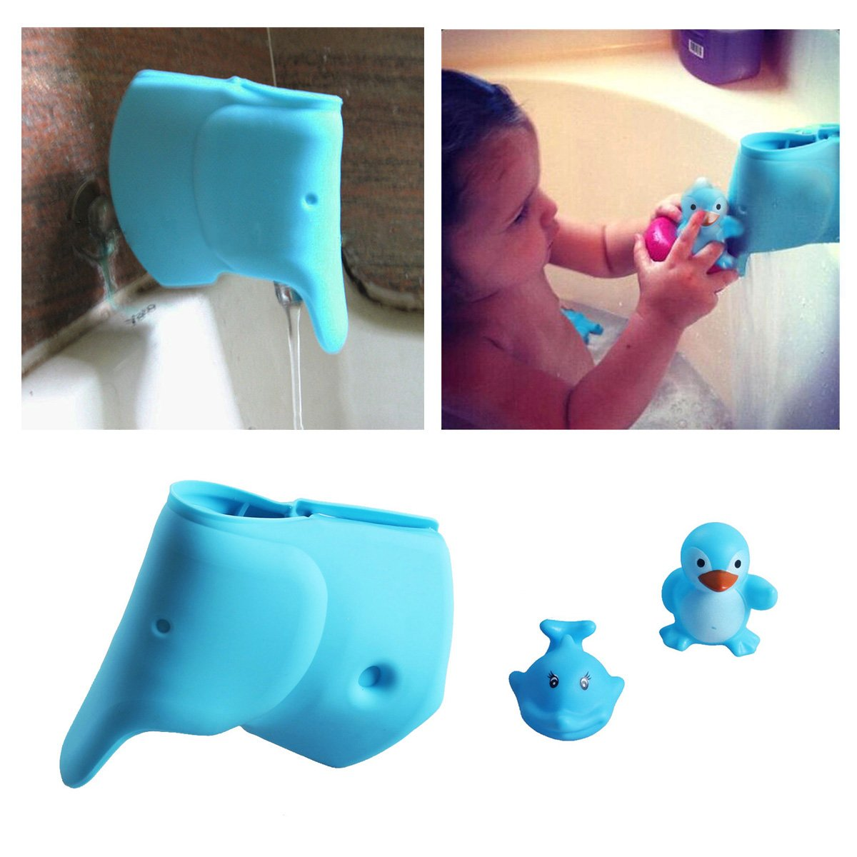 Bath Spout Cover - Faucet Cover Baby - Tub Spout Cover - Bathtub Faucet Cover for Kids - Tub Faucet Protector for Baby -Silicone Spout Cover Blue Elephant - Kids bathroom accessories : Baby