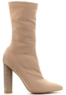 0ebd07c5ac6ab CAPE ROBBIN Connie-5 Pointy Toe Lycra Elastic Pull On Ankle Bootie Block  Heel Boot