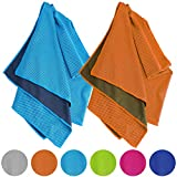 Vancle Cooling Towels 2 PACK, Cooling Towel for Instant Cooling Relief in Hot Environment, Ice Towels Stay Cool for Sports and Fitness, Blue & Orange, 40 x 12 inch