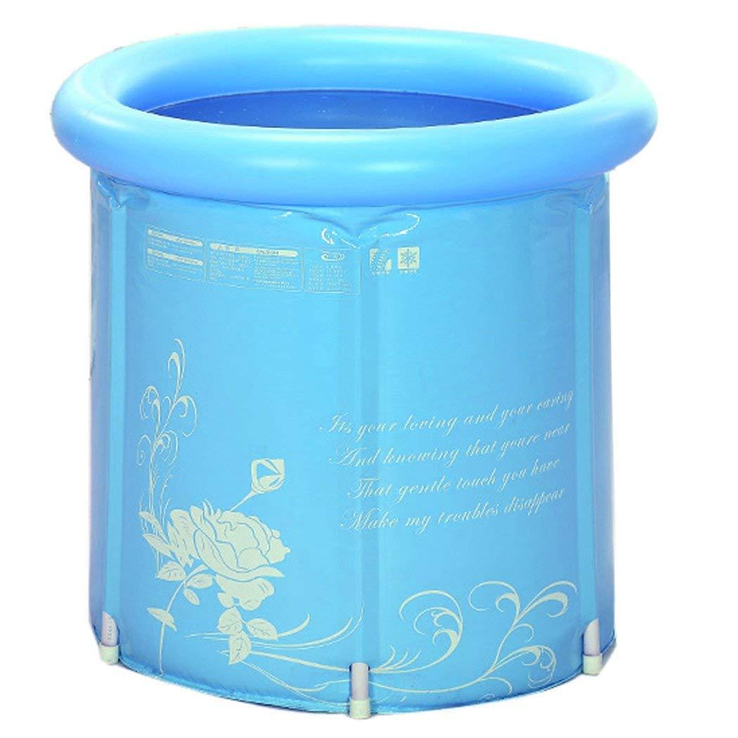 65cm*70cm Erwachsene Faltende Badewanne Aufblasbare Tragbare Kunststoff-Badewanne Super-dick (Farbe : Blau) SweetDarling