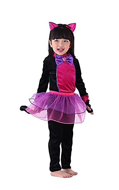 So Sydney Girls Toddler Deluxe Black Hot Pink Cat Halloween Costume Accessories (L (7/8), Black Cat)