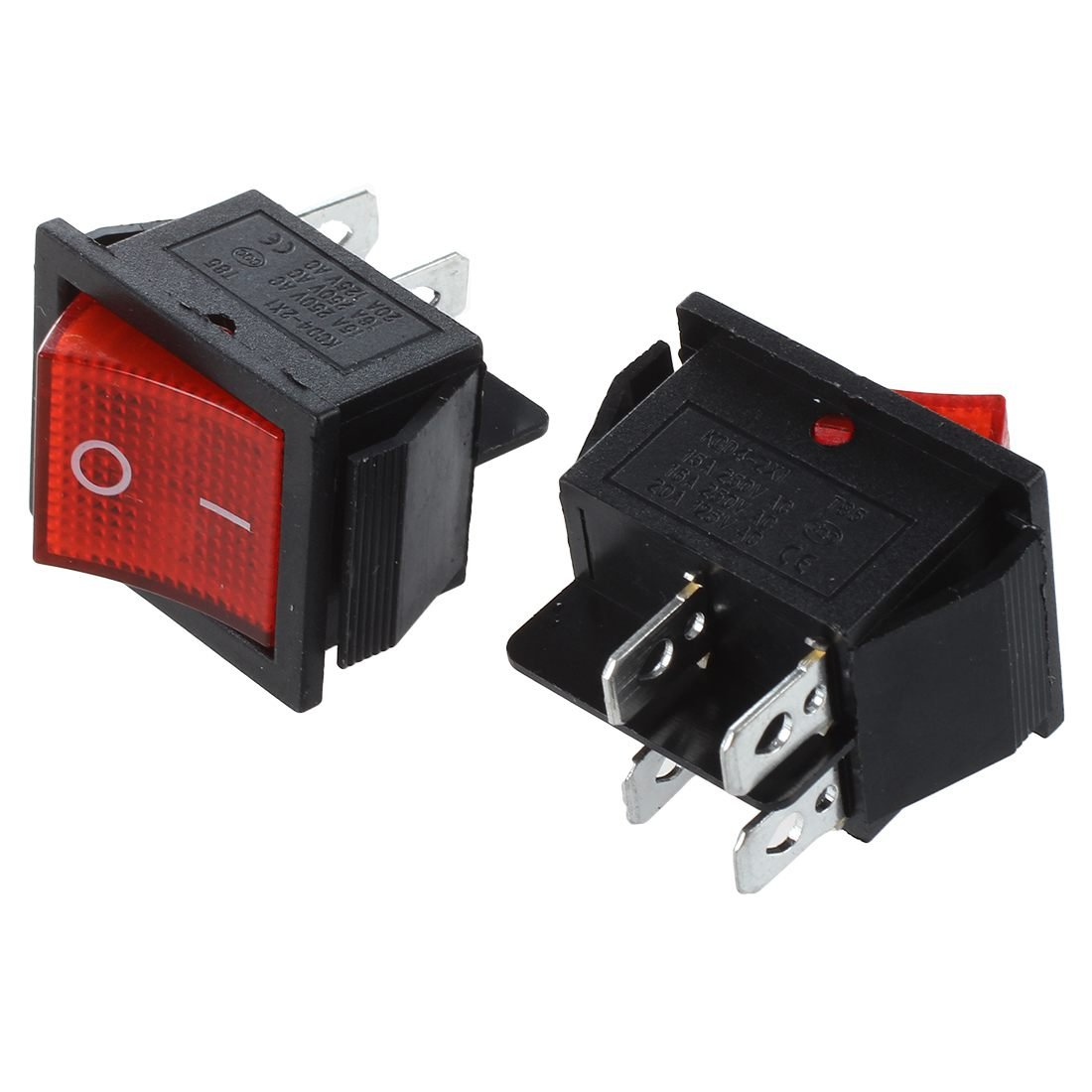 TOOGOO(R) 16A/250V 20A/125V AC Red Neon Light ON/OFF DPST Boat Rocker Switch 5 Pcs by TOOGOO(R) (Image #2)