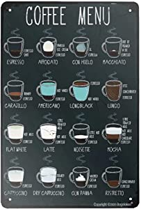 Angeloken Retro Metal Sign Vintage Tin Sign Coffee Menu Sign for Plaque Poster Cafe Wall Art Gift 12 X 8 INCH