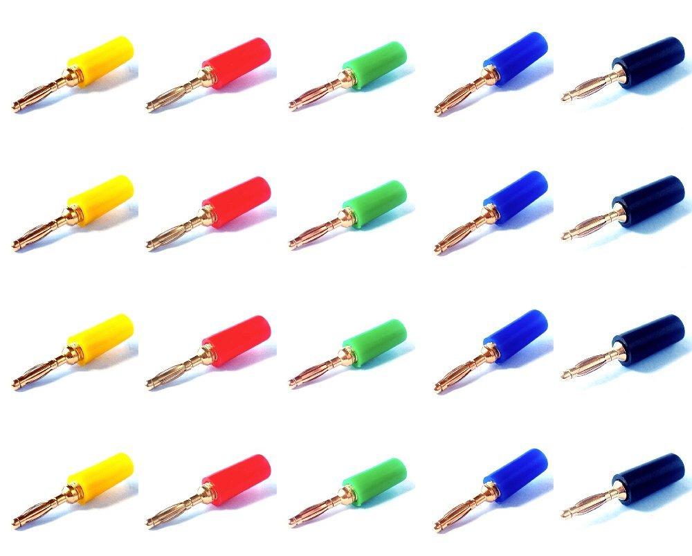 2pcs 2 Colors High quality 2mm Gold Mini Banana Plug Male Audio Adapter US