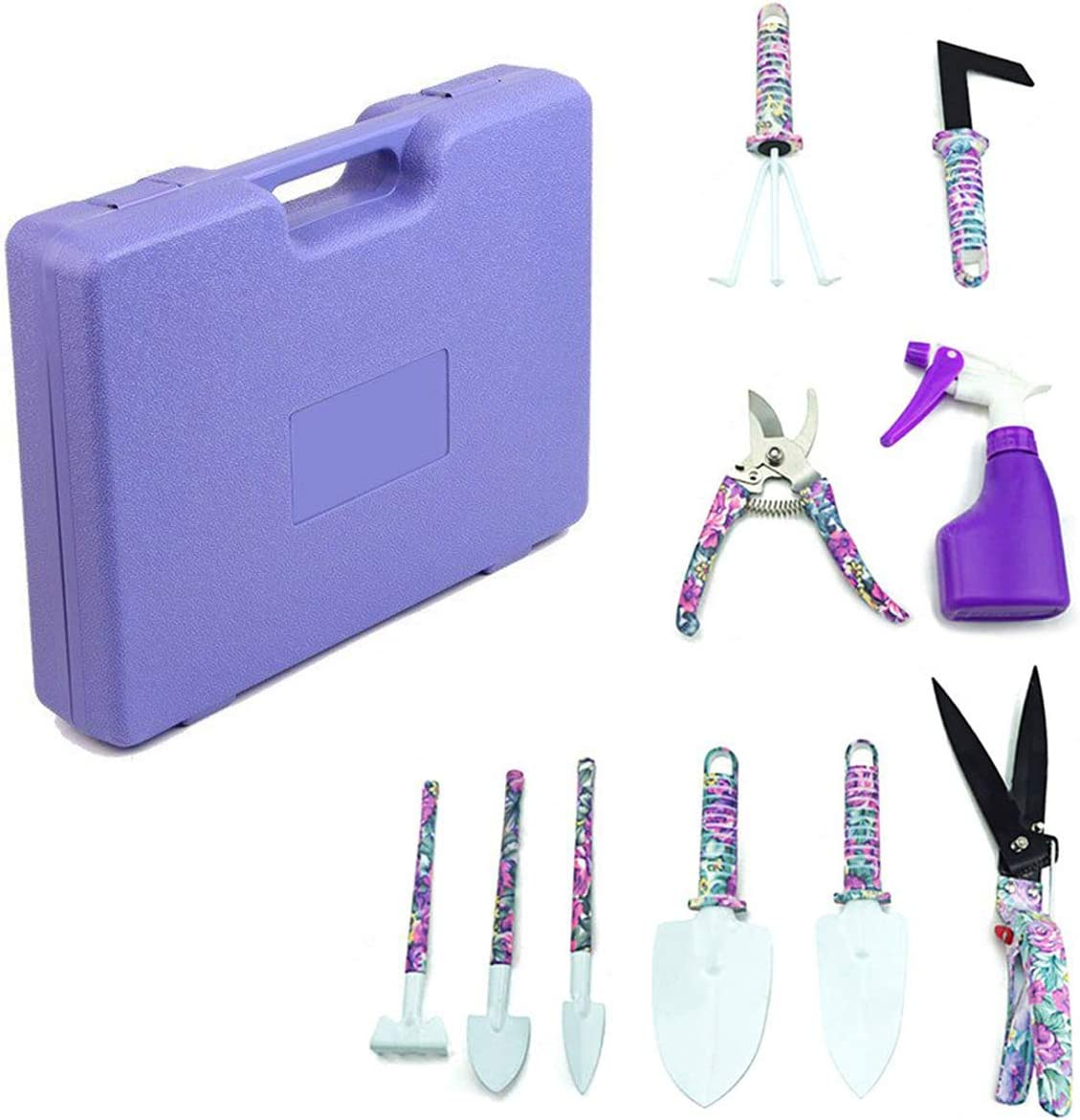 Jranter 10 Pieces Stainless Steel Garden Hand Tool Set,Purple Garden Hand Tools with Carrying Case