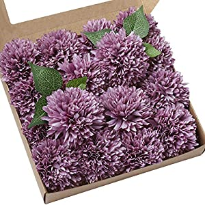 "Ling's moment Vintage Violet 4"" Flower Head Artificial Teddy Bear Sunflower Pack of 16 Ball Dahlia Silk Chrysanthemum Pompom Ball Hydrangea Flower with Stem for Home Garden Table Centerpieces Decor 4"