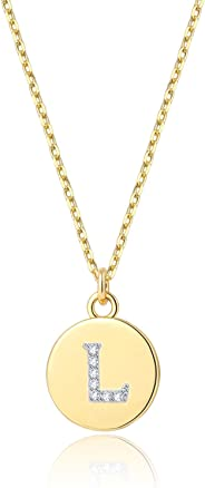 14K Gold Plated Initial Necklace - Dainty Disc Letter Necklaces for Women Girls