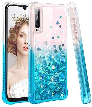 wlooo Funda para Samsung Galaxy A70, Fundas Samsung A70, Samsung A70 Funda, Glitter liquida Gradiente Cristal Silicona Bling Protector TPU Bumper ...