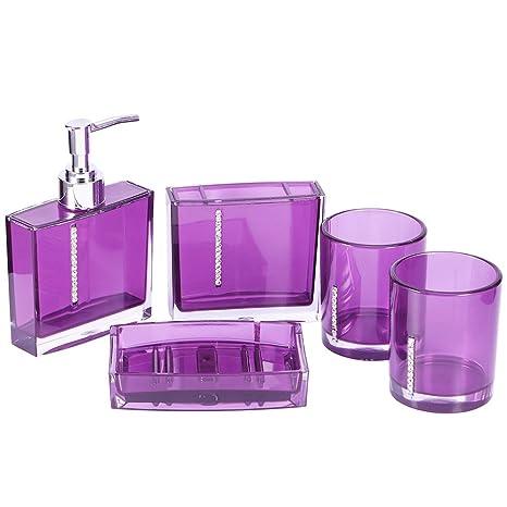 Gosear 5 Piezas Acrílico Rhinestone Botella de Dispensador de Jabón Líquido Prensa Plato de Jabón Cepillo
